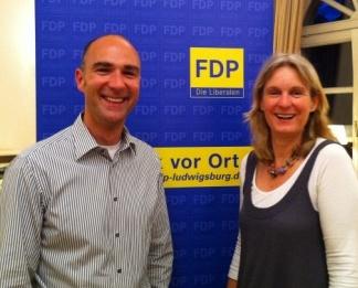 FDP-Generalsekretärin Gabriele Heise und FDP-Ortsvorsitzender Martin Müller