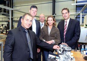 Zu Gast bei der Firma Metzger Technik: von Links Gerd Metzger, Roland Zitzmann, Friedrich Wahl, Stefanie Knecht und Prof. Dr. Erik Schweickert MdL