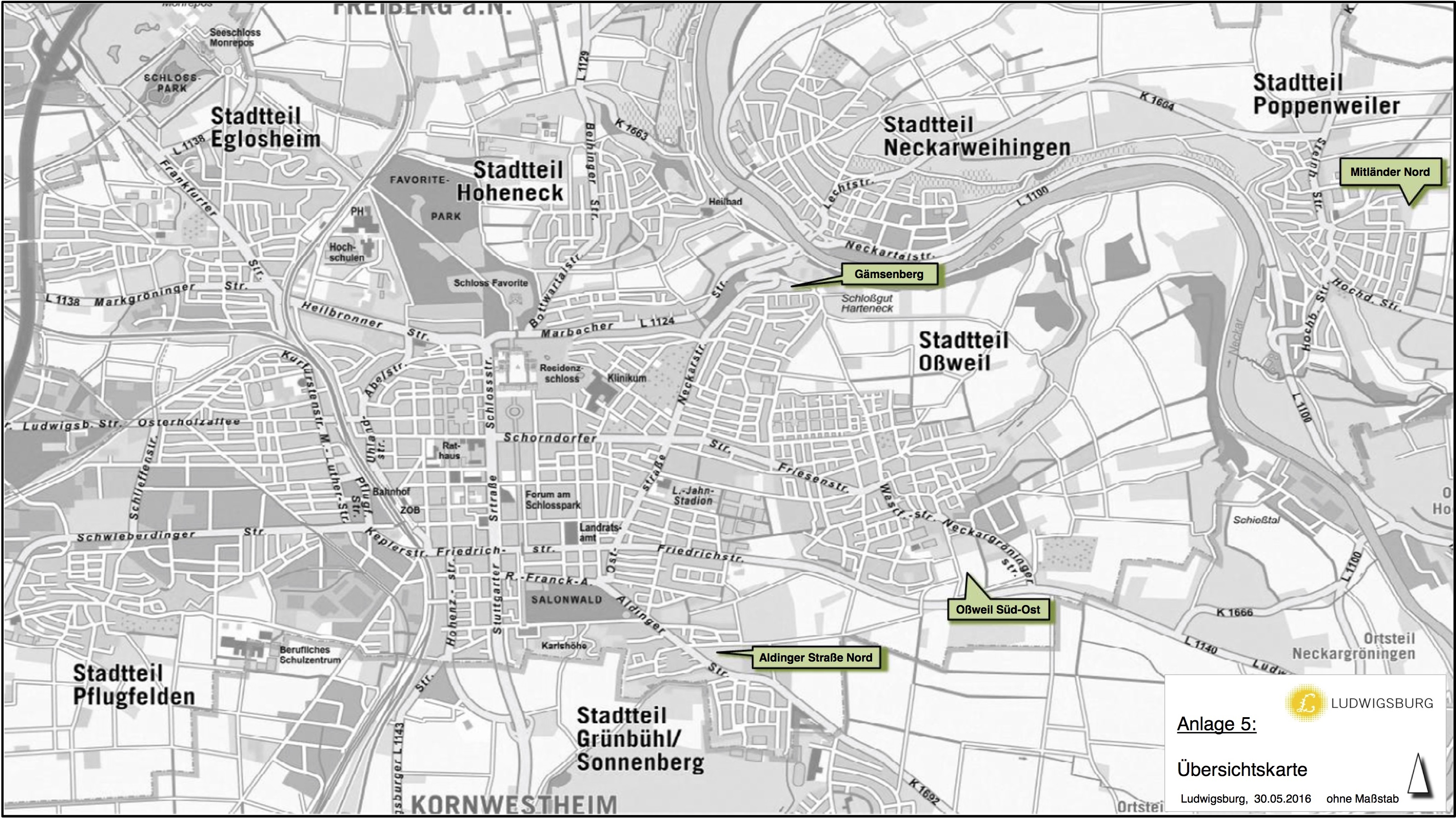 Übersichtskarte Wohnbaugebiete (Quelle: Ratsvorlage)