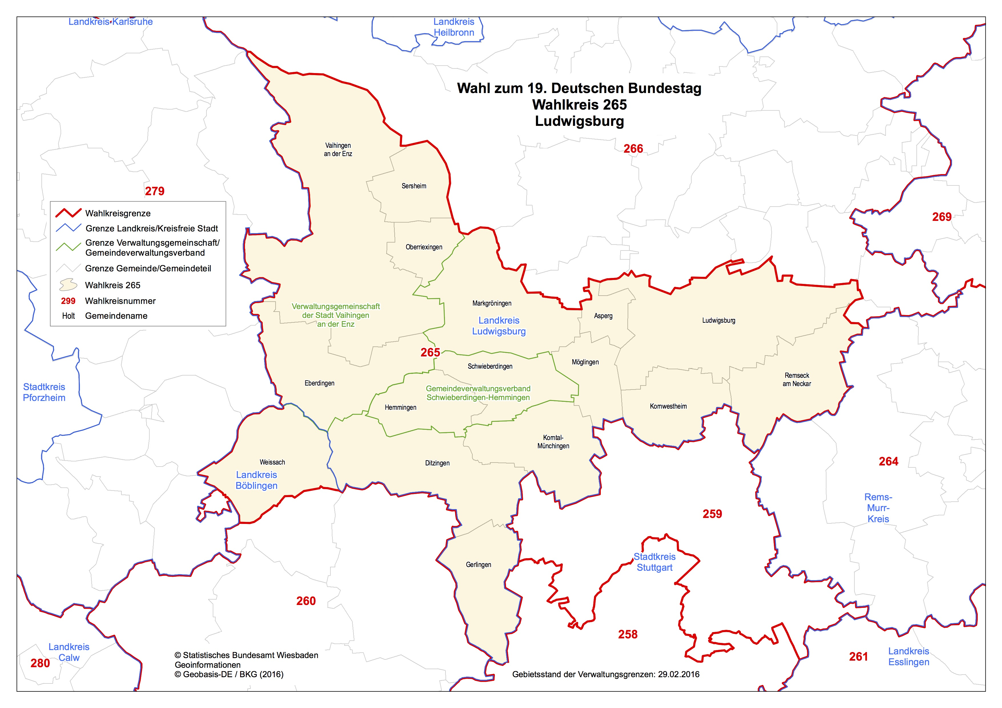 Bundestagswahl 2017 Wahlkreis 265 Ludwigsburg