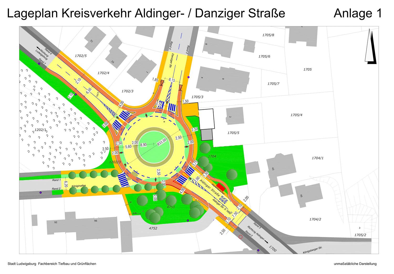 Anlage 1 zur Ratsvorlage der Stadt Ludwigsburg: die großzügigen Rodungen sind verzeichnet